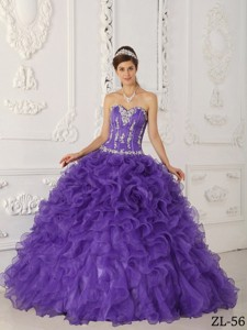Purple Ball Gown Sweetheart Floor-length Satin and Organza Appliques Quinceanera Dress