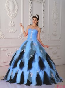 Blue And Black Princess Strapless Floor-length Organza Appliques Quinceanera Dress