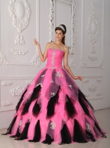 Pink And Black Princess Strapless Floor-length Organza Appliques Quinceanera Dress