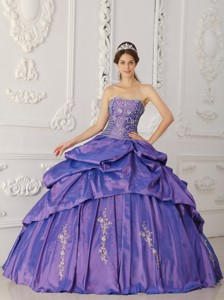 Purple Ball Gown Strapless Floor-length Taffeta Embroidery and Beading Quinceanera Dress