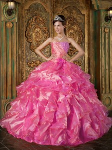 Hot Pink Ball Gown Strapless Floor-length Beading and Ruffles Quinceanera Dress