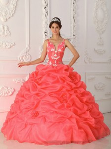 Coral Red Ball Gown Straps Floor-length Satin and Organza Appliques Quinceanera Dress