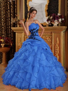 Blue Ball Gown Sweetheart Floor-length Organza Appliques Quinceanera Dress