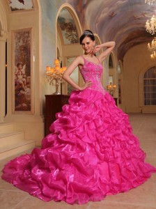 Hot Pink Ball Gown Spaghetti Straps Floor-length Organza Embroidery Quinceanera Dress