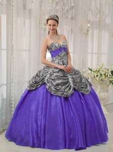 Purple Ball Gown Sweetheart Floor-length Taffeta and Zebra or Leopard Ruffles Quinceanera Dress