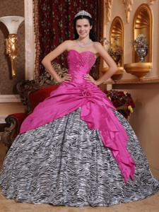 Hot Pink Ball Gown Sweetheart Floor-length Taffeta and Zebra Beading Quinceanera Dress