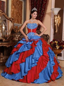 Blue and Red Ball Gown Strapless Floor-length Embroidery Quinceanera Dress