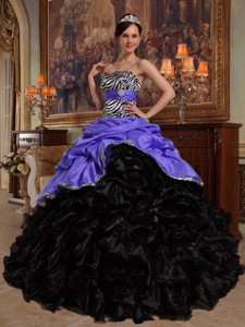 Purple and Black Ball Gown Sweetheart Floor-length Pick-ups Taffeta and Organza Quinceanera Dress