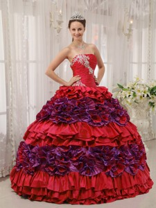 Red Ball Gown Straplesas Floor-length Taffeta Appliques and Ruch Quinceanera Dress