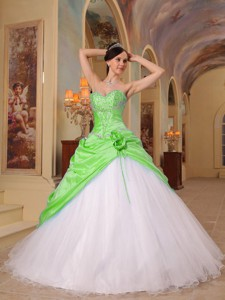 Spring Green And White Princess Sweetheart Floor-length Beading Tulle And Taffeta Quinceane