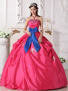 Hot Pink Ball Gown Strapless Floor-length Taffeta Beading Quinceanera Dress
