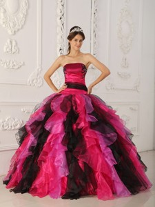 Multi-color Ball Gown Strapless Floor-length Organza Appliques and Ruffles Quinceanera Dress