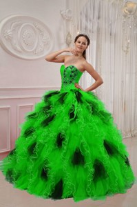 Green and Black Ball Gown Sweetheart Floor-length Orangza Beading and Ruch Quinceanera Dress