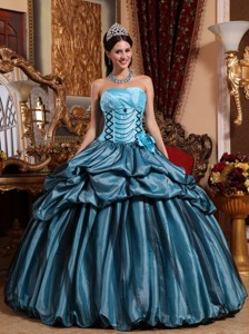 Blue Ball Gown Strapless Floor-length Taffeta Hand Made Flower Quinceanera Dress