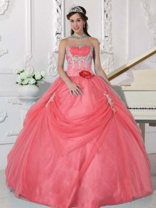 Watermelon Ball Gown Strapless Floor-length Taffeta and Organza Appliques and Hand Made Flower Quinc