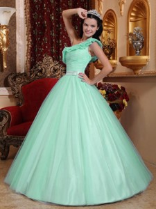 Apple Green One Shoulder Floor-length Tulle Ruch Quinceanera Dress