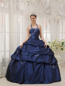 Navy Blue Ball Gown Halter Floor-length Taffeta Appliques Quinceanera Dress