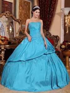 Teal Ball Gown Strapless Floor-length Taffeta Beading Quinceanera Dress