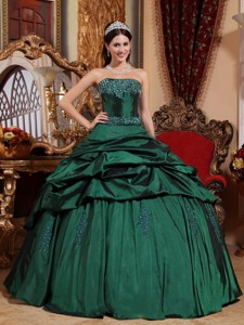 Green Ball Gown Strapless Floor-length Taffeta Beading Quinceanera Dress