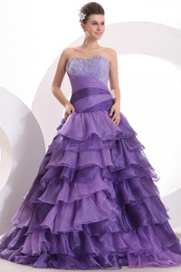 Beading And Ruffles Layered Purple Organza Quinceanera Dress
