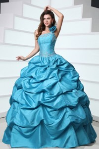 Beading and Pick-ups One Shoulder Teal Taffeta Quinceanera Dress