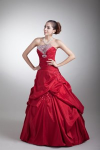 Wine Red Strapless Taffeta Quinceanera Dress With Beading