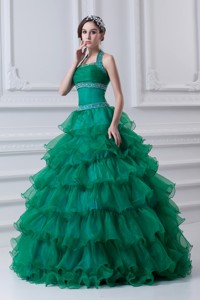 Spring Hater Top Beading And Appliques Green Quinceanera Dress