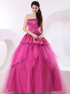 Hot Pink Prom Dress With Beading And Floor-length