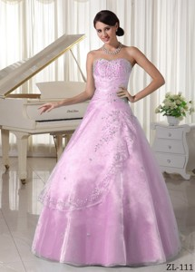 Organza Appliques With Beading Over Skirt Sweetheart Quinceanera Dress For Military Ball