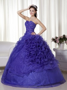 Purple Ball Gown Sweetheart Floor-length Organza Beading and Ruffles Quinceanera Dress