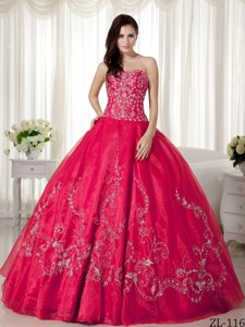 Ball Gown Sweetheart Floor-length Organza Beading and Embroidery Quinceanera Dress