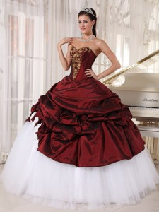 Burgundy and White Ball Gown Sweetheart Floor-length Taffeta and Tulle Appliques Quinceanera Dress
