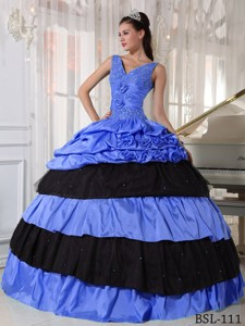 Ball Gown V-neck Blue and Black Quinceanera Dress with Beading