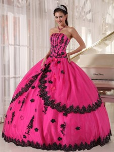 Hot Pink Ball Gown Strapless Floor-length Appliques Quinceanera Dress