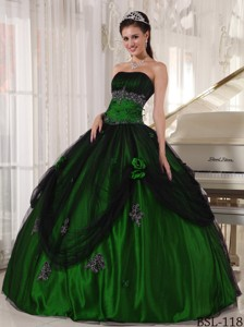 Ball Gown Green and Black Strapless Floor-length Beading Quinceanera Dress