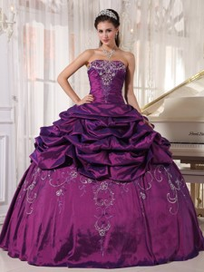 Eggplant Purple Ball Gown Strapless Floor-length Taffeta Embroidery With Beading Quinceanera Dress