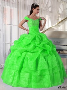 Spring Green Ball Gown Off The Shoulder Floor-length Taffeta and Organza Beading Quinceanera Dress