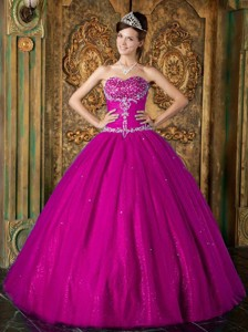 Fuchsia Princess Sweetheart Floor-length Beading Tulle Quinceanera Dress