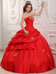 Wonderful Ball Gown Sweetheart Floor-length Taffeta Appliques Red Quinceanera Dress