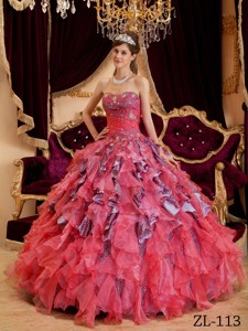 Watermelon Ball Gown Sweetheart Floor-length Beading Leopard and Organza Quinceanera Dress