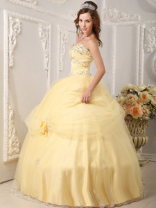Beautiful Ball Gown Sweetheart Floor-length Organza Appliques Light Yellow Quinceanera Dress