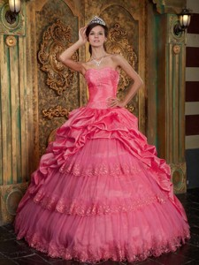 Coral Red Ball Gown Sweetheart Floor-length Taffeta and Tulle Lace Appliques Quinceanera Dress
