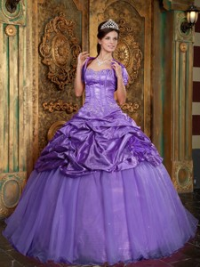 Lavender Ball Gown Sweetheart Floor-length Taffeta and Organza Appliques Quinceanera Dress