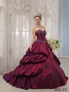 Fuchsia Ball Gown Sweetheart Court Train Taffeta Appliques Quinceanera Dress