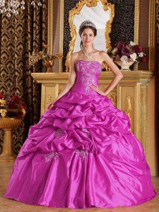 Fuchsia Ball Gown Strapless Floor-length Pick-ups Taffeta Quinceanera Dress