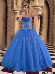 Blue Ball Gown Floor-length Organza Beading Quinceanera Dress