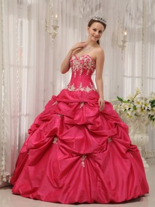 Coral Red Ball Gown Sweetheart Floor-length Taffeta Appliques Quinceanera Dress