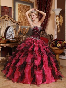 Red and Black Sweetheart Floor-length Organza Beading and Ruffles Quinceanera Dress