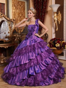 Ball GownOne Shoulder Taffeta and Organza Hand Made Flowers Quinceanera Dress