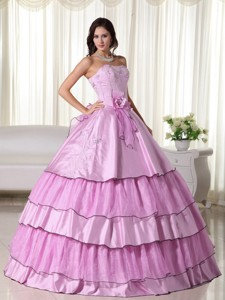 Pink Ball Gown Strapless Floor-length Taffeta Beading Quinceanera Dress